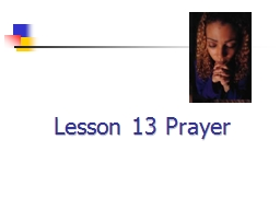 Lesson 13 Prayer
