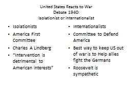 United States Reacts to War