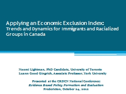 Applying an Economic Exclusion Index: