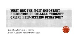 What Are the Most Important Predictors of College Students
