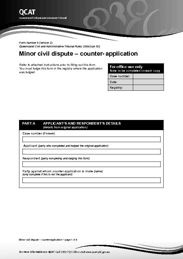 Minor civil dispute – counter-application – page 1 of 4