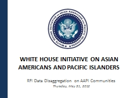 WHITE HOUSE INITIATIVE ON ASIAN AMERICANS AND PACIFIC ISLAN