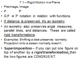 7.1 – Rigid Motion in a Plane PowerPoint PPT Presentation