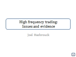 High frequency trading: