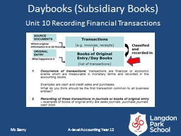 Daybooks (Subsidiary Books)