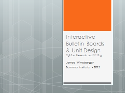 Interactive Bulletin Boards & Unit Design
