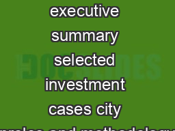 containing executive summary selected investment cases city proles and methodology