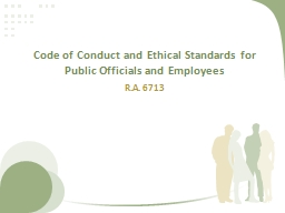 Code of Conduct and Ethical Standards for Public Officials