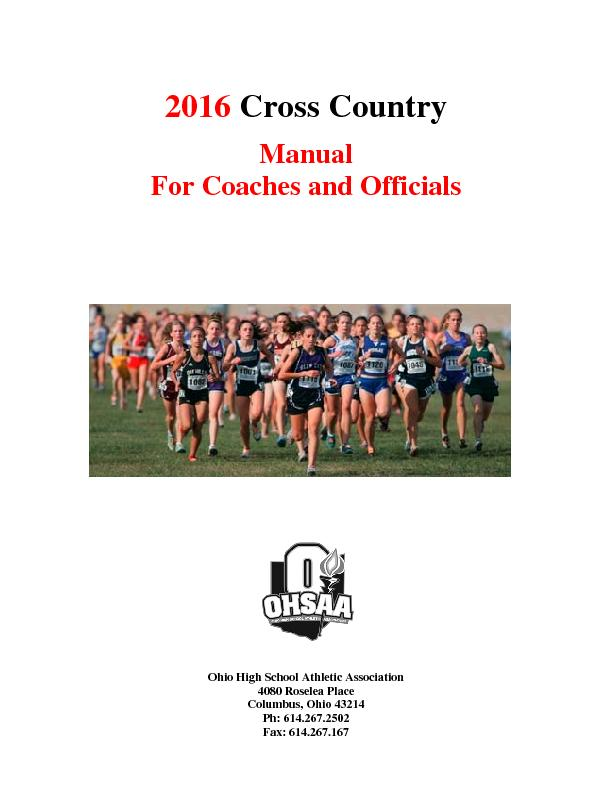 2016 Cross Country   Manual  For Coaches and Officials