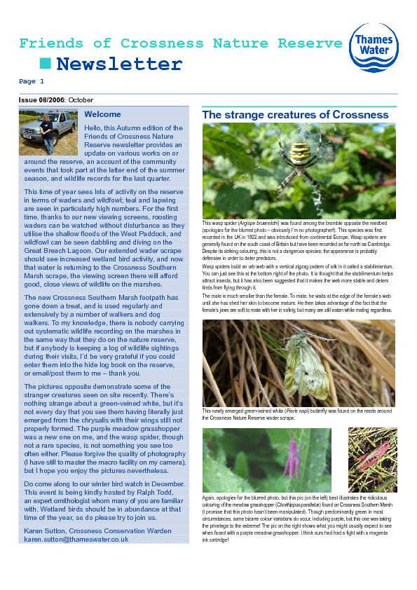 Friends of Crossness Nature Reserve  Newsletter Page 1