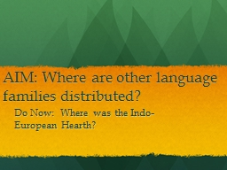 AIM: Where are other language families distributed? PowerPoint PPT Presentation