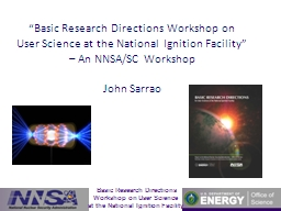 """""""Basic Research Directions Workshop on User Science at th"""