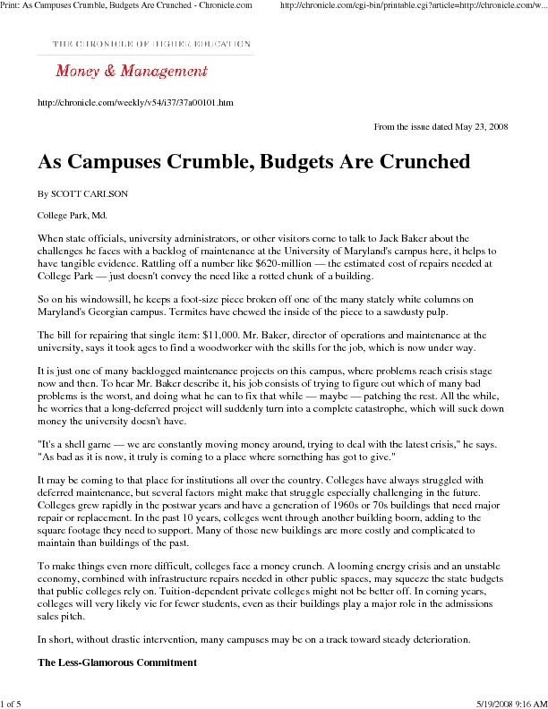 Print: As Campuses Crumble, Budgets Are Crunched - Chronicle.comhttp:/