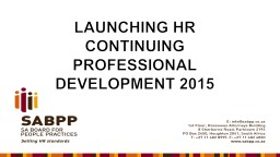 LAUNCHING HR CONTINUING PROFESSIONAL DEVELOPMENT 2015