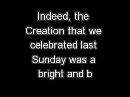 Indeed, the Creation that we celebrated last Sunday was a bright and b