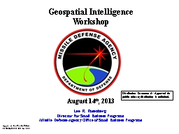 Geospatial Intelligence PowerPoint PPT Presentation