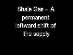 Shale Gas -  A permanent leftward shift of the supply