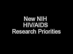 New NIH HIV/AIDS Research Priorities