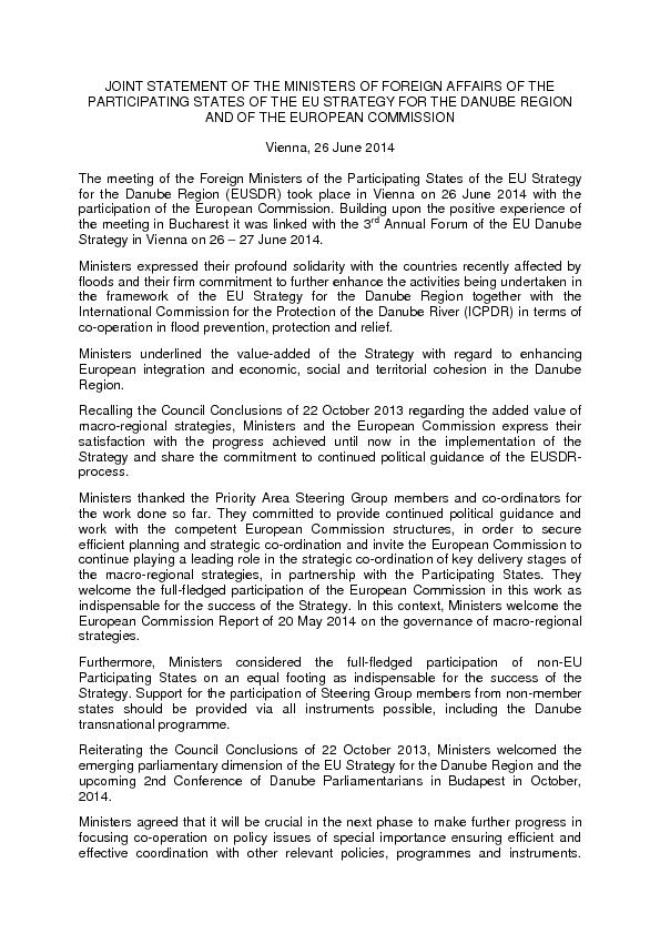 JOINT STATEMENT OF THE MINISTERS OF FOREIGN AFFAIRS OF THE