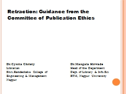 Retraction: Guidance from the Committee of Publication Ethi PowerPoint PPT Presentation