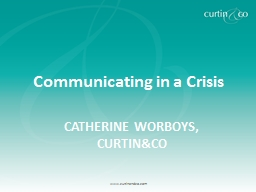 Communicating in a Crisis PowerPoint PPT Presentation