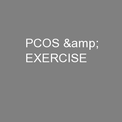PCOS & EXERCISE