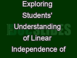 Exploring Students' Understanding of Linear Independence of