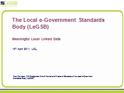 The Local e-Government Standards Body (LeGSB)