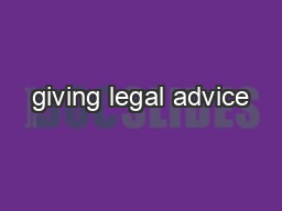 giving legal advice
