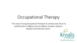 Occupational Therapy PowerPoint Presentation, PPT - DocSlides