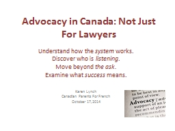 Advocacy in Canada: Not Just For Lawyers