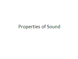 Properties of Sound PowerPoint PPT Presentation