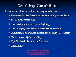 Working Conditions PowerPoint PPT Presentation