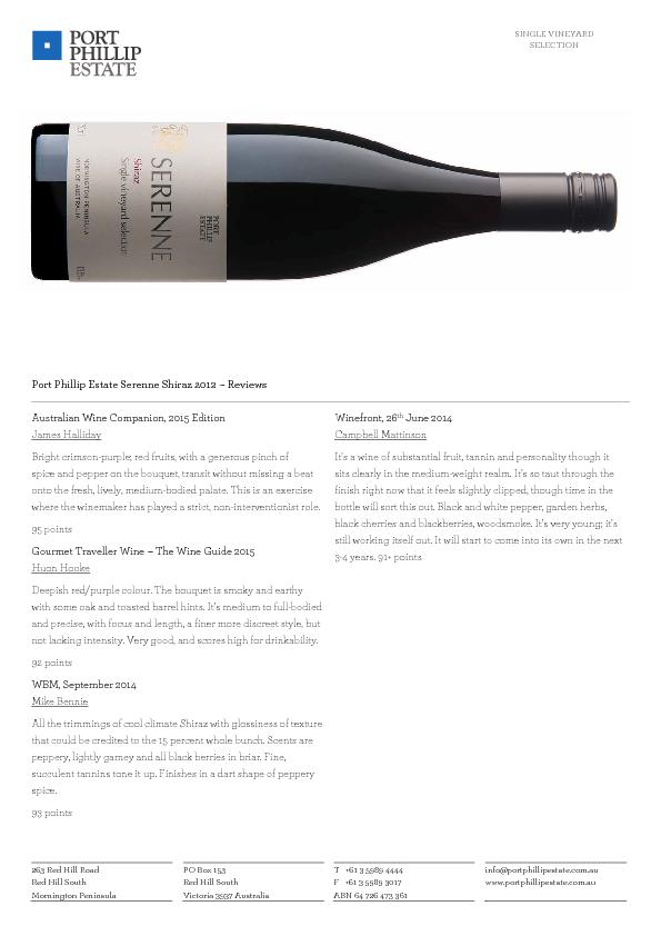 SINGLE VINEYARD SELECTION 263 Red Hill Road  PO Box 153  T +61 3 5989