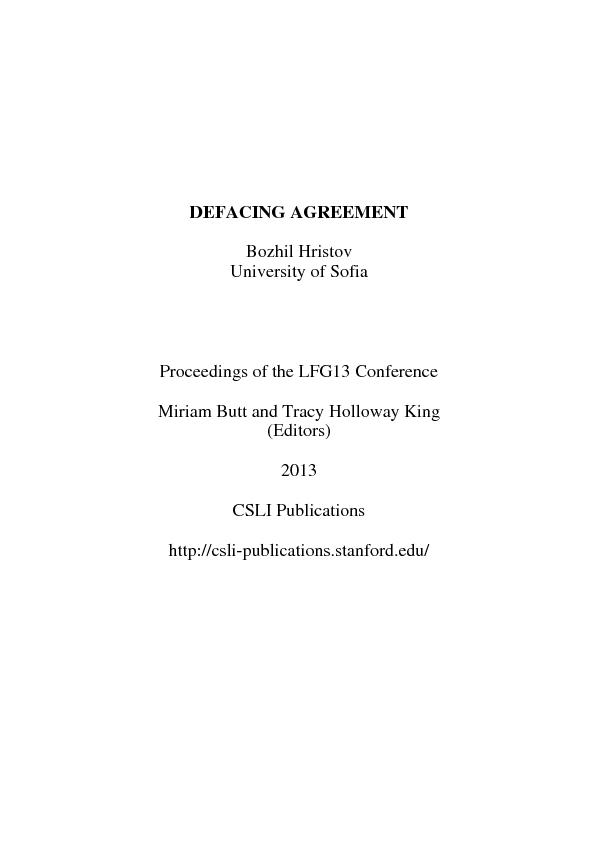DEFACING AGREEMENT Bozhil Hristov University of Sofia Proceedings of t