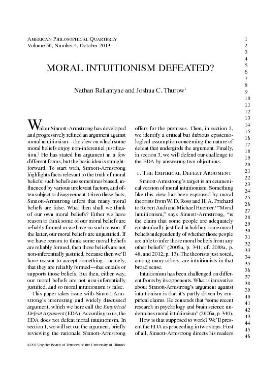 MORAL INTUITIONISM DEFEATED?