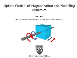 Optical Control of Magnetization and Modeling Dynamics