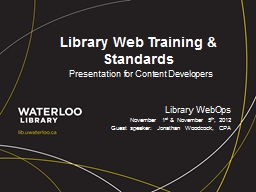 Library Web Training & Standards