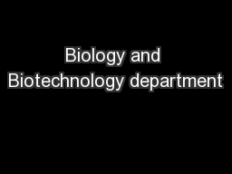 Biology and Biotechnology department