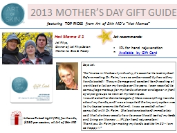 2013 MOTHER'S DAY GIFT GUIDE