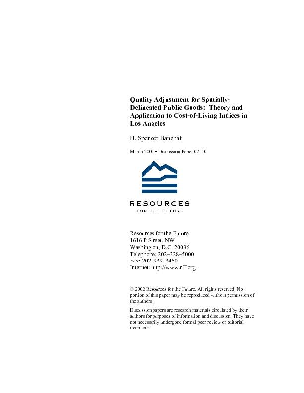 Quality Adjustment for Spatially-Delineated Public Goods:  Theory and