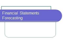 Financial Statements Forecasting