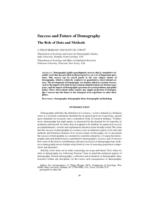 Success and Future of Demography:Demography typifies paradigmatic succ