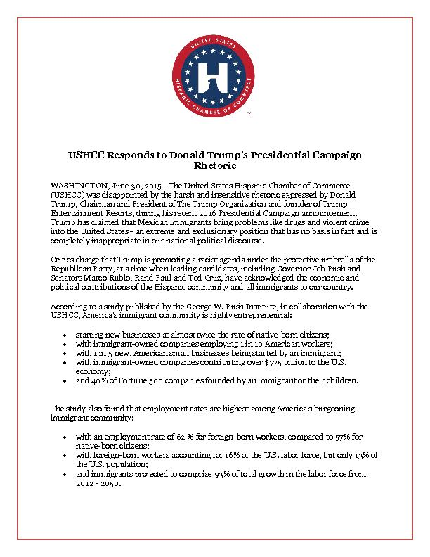 USHCC Responds to Donald Trump's Presidential Campaign