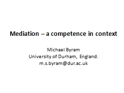 Mediation � a competence in context