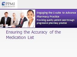 Ensuring the Accuracy of the Medication List