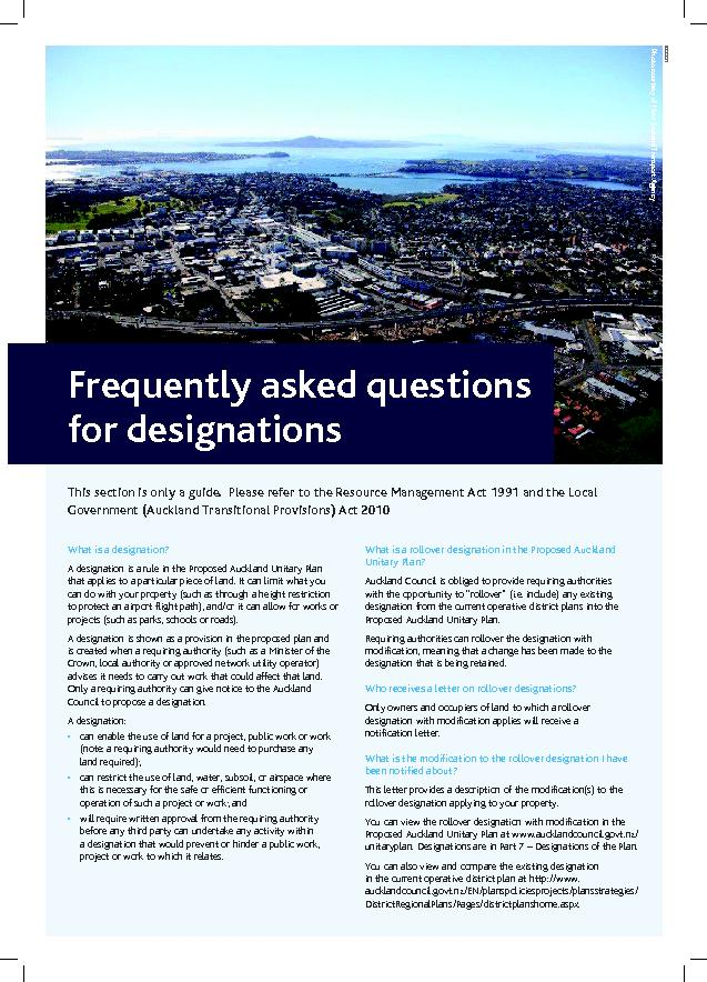 Frequently asked questions for designationsThis section is only a guid