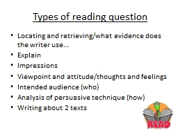 Types of reading question