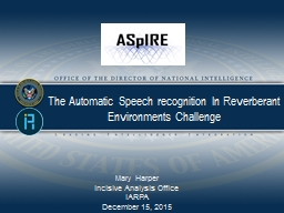 The Automatic Speech recognition In Reverberant Environment