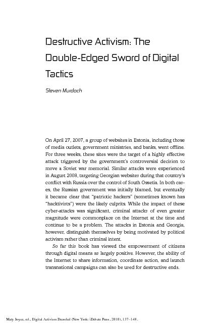 Digital Activism Decoded Destructive Activism: The Double-Edged Sword